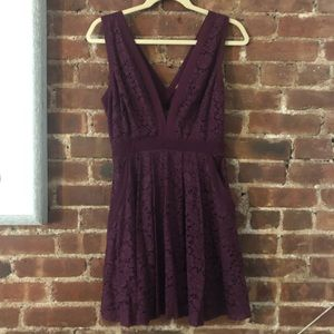 Berry purple Free People lace v-neck dress
